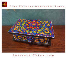 Handcrafted Thai Decorative Wooden Box Vintage Décor Hand Painted Trinket Jewelry Box Women Accessory Storage Organizer #111