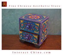 Handcrafted Thai Decorative Wooden Box Vintage Décor Hand Painted Trinket Jewelry Box Women Accessory Storage Organizer #113