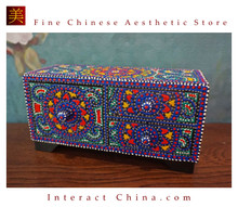 Handcrafted Thai Decorative Wooden Box Vintage Décor Hand Painted Trinket Jewelry Box Women Accessory Storage Organizer #114