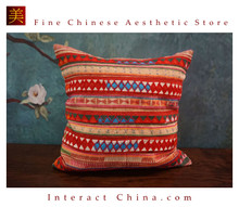 100% Handmade Embroidered Cotton Linen Sofa Couch Cushion Cover Set 16x16 Inches Decorative Throw Pillow Case #201
