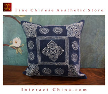 100% Hand Painted Wax Batik Cotton Sofa Couch Cushion Cover Set 15.7x15.7 Inches Decorative Throw Pillow Case #102