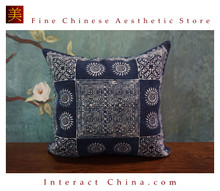 100% Hand Painted Wax Batik Cotton Sofa Couch Cushion Cover Set 15.7x15.7 Inches Decorative Throw Pillow Case #103
