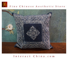 100% Hand Painted Wax Batik Cotton Sofa Couch Cushion Cover Set 15.7x15.7 Inches Decorative Throw Pillow Case #101