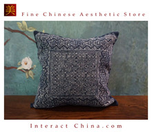 100% Hand Painted Wax Batik Cotton Sofa Couch Cushion Cover Set 15.7x15.7 Inches Decorative Throw Pillow Case #105