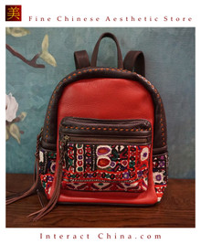 Handmade Boho Chic Spacious Leather Backpack One of A Kind Women Antique Embroidery Rucksack #103