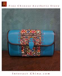 100% Hand Embroidered Women Leather Wallet Designer Long Purse Rare Art Phone Card Holder #102