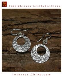 Fine 99 Earrings High Purity Sterling Silver Jewelry 100% Handcrafted Art #156