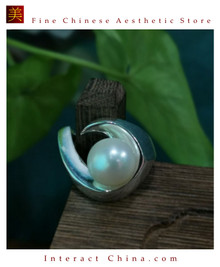 100% Handcrafted Natural Thai Pearl Ring 925 Sterling Silver Large Cultured White Pearl Elegant Vintage Style - Fairtrade #102