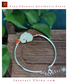 100% Handcrafted Artistry Hotan Jade Agate Open Adjustable Chains Bracelet Bangle 925 Silver Vintage Fashion Chic with Authenticity Certificate #103