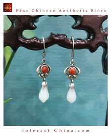100% Handcrafted Natural Hotan Jade Agate Earrings for Women 925 Silver Dangle Vintage with Authenticity Certificate #116