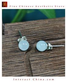 100% Handcrafted Natural Hotan Jade Agate Earrings for Women 925 Silver Stud Vintage with Authenticity Certificate #117