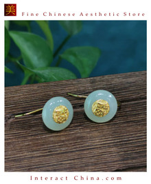 100% Handcrafted Natural Hotan Jade Agate Earrings for Women 925 Silver Drop Vintage with Authenticity Certificate #118