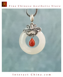 100% Handcrafted Artistry Hotan Jade Agate Fashion Pendant Necklace 925 Silver Vintage Fashion Chic with Authenticity Certificate #103