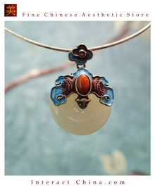 100% Handcrafted Artistry Hotan Jade Agate Fashion Pendant Necklace 925 Silver Vintage Fashion Chic with Authenticity Certificate #105