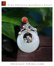 100% Handcrafted Artistry Hotan Jade Agate Fashion Pendant Necklace 925 Silver Vintage Fashion Chic with Authenticity Certificate #107