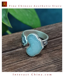100% Handcrafted Genuine Hotan Jade Agate Ring 925 Silver Carved Green Gemstone Vintage For Women with Authenticity Certificate #105