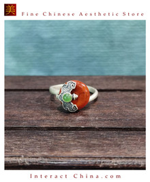 100% Handcrafted Genuine Hotan Jade Agate Ring 925 Silver Carved Green Gemstone Vintage For Women with Authenticity Certificate #108