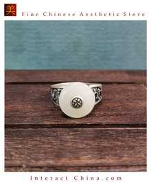 100% Handcrafted Genuine Hotan Jade Agate Ring 925 Silver Carved Green Gemstone Vintage For Women with Authenticity Certificate #109
