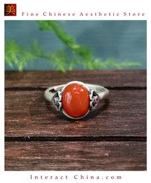 100% Handcrafted Genuine Hotan Jade Agate Ring 925 Silver Carved Green Gemstone Vintage For Women with Authenticity Certificate #110