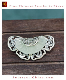 100% Handcrafted Artistry Hotan Jade Agate Authentic Brooch 925 Silver Vintage Fashion Chic with Authenticity Certificate #101