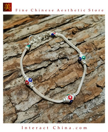 100% Handcrafted Thai Pure Silver Snake Chain Bracelet 925 Sterling Enamel For Women Colourful Ethnic Design Vintage Artisan Style - Fair Trade #101
