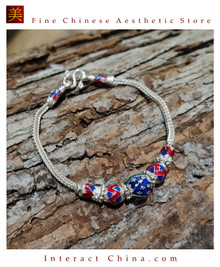 100% Handcrafted Thai Pure Silver Snake Chain Bracelet 925 Sterling Enamel For Women Colourful Ethnic Design Vintage Artisan Style - Fair Trade #103