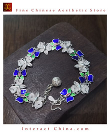 100% Handcrafted Miao Hmong Pure Silver Chain Bracelet 999 Filigree Enamel Charm For Women Colourful Butterfly Design Vintage Style - Fair Trade #101
