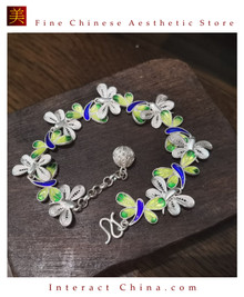 100% Handcrafted Miao Hmong Pure Silver Chain Bracelet 999 Filigree Enamel Charm For Women Colourful Butterfly Design Vintage Style - Fair Trade #102