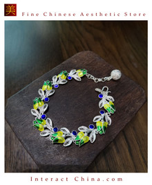 100% Handcrafted Miao Hmong Pure Silver Chain Bracelet 999 Filigree Enamel Charm For Women Colourful Butterfly Design Vintage Style - Fair Trade #103