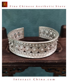 100% Handcrafted Miao Hmong Pure Silver Bracelet 999 Filigree Open Cuff Bangle For Women Vintage Ethnic Style - Fair Trade #101