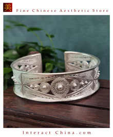 100% Handcrafted Miao Hmong Pure Silver Bracelet 999 Filigree Open Cuff Bangle For Women Vintage Ethnic Style - Fair Trade #102