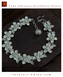 100% Handcrafted Miao Hmong Pure Silver Chain Bracelet 999 Filigree Charm For Women Daisy Chain Design Vintage Authentic Style - Fair Trade #102