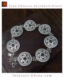 100% Handcrafted Miao Hmong Pure Silver Chain Bracelet 999 Filigree Charm For Women Daisy Chain Design Vintage Authentic Style - Fair Trade #104