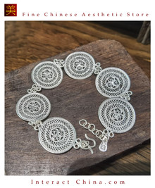 100% Handcrafted Miao Hmong Pure Silver Chain Bracelet 999 Filigree Charm For Women Daisy Chain Design Vintage Authentic Style - Fair Trade #105