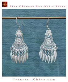 100% Handcrafted Miao Hmong Pure Silver Earrings 999 Filigree Dangle Long Drop Tassel Flower Design Bohemian Vintage Ethnic Style - Fair Trade #101