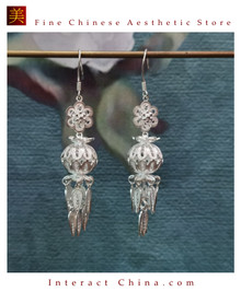 100% Handcrafted Miao Hmong Pure Silver Earrings 999 Filigree Dangle Long Drop Tassel Flower Design Bohemian Vintage Ethnic Style - Fair Trade #107