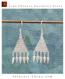 100% Handcrafted Miao Hmong Pure Silver Earrings 999 Filigree Dangle Long Drop Tassel Flower Design Bohemian Vintage Ethnic Style - Fair Trade #110
