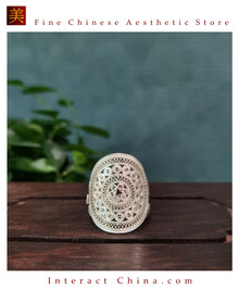 100% Handcrafted Miao Hmong Pure Silver Ring 999 Filigree Ladies Butterfly Flower Design Vintage Ethnic Style - Fair Trade #103