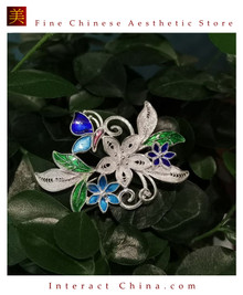 100% Handcrafted Miao Hmong Pure Silver Pendant 999 Filigree Green Enamel Brooch For Women Authentic Flower Design Vintage Antique Style - Fair Trade #101
