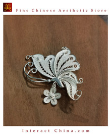 100% Handcrafted Miao Hmong Pure Silver Brooch 999 Filigree Pin For Ladies Butterfly Design Vintage Art Deco Style - Fair Trade #102