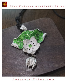 100% Handcrafted Miao Hmong Pure Silver Pendant 999 Filigree Green Enamel Necklace For Women Authentic Flower Design Vintage Boho Style - Fair Trade #101