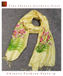 Handcrafted Vietnam Handpainted Silk Scarves 100% Real Mulberry Silk Lightweight Oblong Neckerchief For Women Floral Green and Yellow Design#101