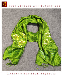 Handcrafted Vietnam Handpainted Silk Scarves 100% Real Mulberry Silk Lightweight Oblong Neckerchief For Women Floral Green and Yellow Design#102