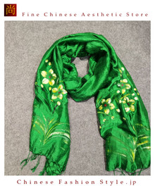 Handcrafted Vietnam Handpainted Silk Scarves 100% Real Mulberry Silk Lightweight Oblong Neckerchief For Women Floral Green and Yellow Design#103