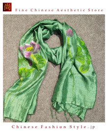 Handcrafted Vietnam Handpainted Silk Scarves 100% Real Mulberry Silk Lightweight Oblong Neckerchief For Women Floral Green and Yellow Design#104
