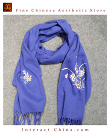 100% Handcrafted Su Embroidered Cashmere Scarves Luxury Lightweight Wool For Winter Fashionable Floral Design With Pastel Colors  - Fair Trade #101