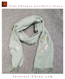 100% Handcrafted Su Embroidered Cashmere Scarves Luxury Lightweight Wool For Winter Fashionable Floral Design With Pastel Colors  - Fair Trade #102