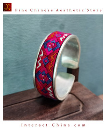 100% Handcrafted Women Fashion Silver Bracelet Everyday Arm Cuff Antique Embroidery One of A Kind Bangle #108