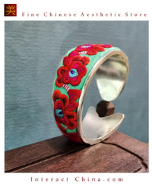100% Handcrafted Women Fashion Silver Bracelet Everyday Arm Cuff Antique Embroidery One of A Kind Bangle #109