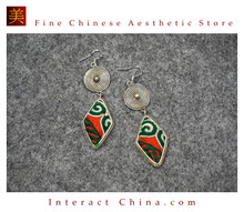 100% Handmade Antique Embroidery Women Fashion Jewelry Unique Silver Teardrop Dangle Tassel Earrings #114